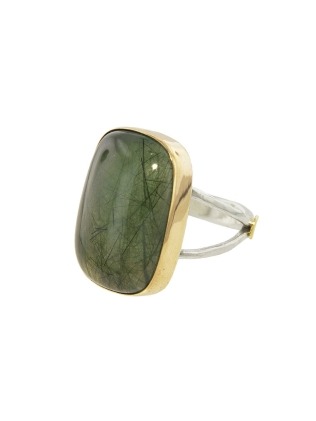 Emily Amey Green Rutilated Prehnite Ring