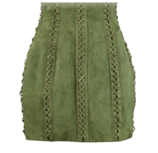 Balmain - Lace-up Suede Mini Skirt