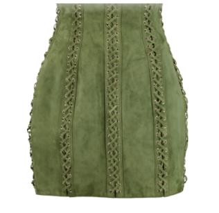 Balmain - Lace-up Suede Mini Skirt